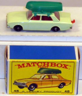 DTE Lesney Matchbox Regular Wheels 45 2 Ford Corsair Boat E Box NIOB
