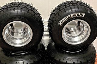 New Bridgestone YGP Rain Tires on 5 Go Kart Rims Wheels