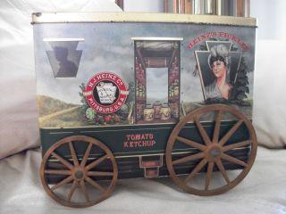 Sampler Replica Wagon Tin w wooden wheels A definete Collectors Item