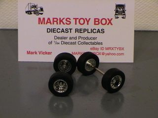 WHEELS: DCP LOT OF 2 SUPER SINGLES TIRE AXLES   CUSTOM SEMI TRUCK CAB