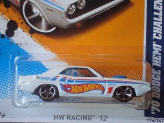 Hot Wheels 2012 HW Racing Series White 70 Dodge Hemi Challenger 174