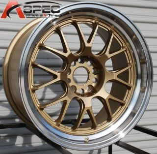 5x114 3 38 73 Gold Machined Lip Wheels Fit RSX TSX Civic SI