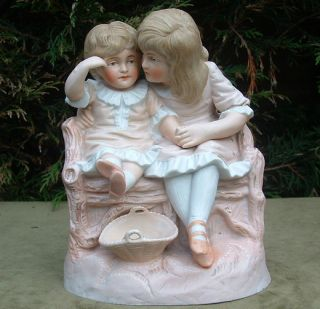 GERMAN BISQUE PORCELAIN LARGE FIGURE GROUP CHILDREN ON BENCH C1895 Pos