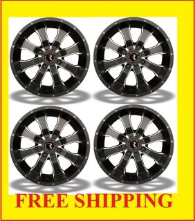 12 12x7 Wheels Polaris Sportsman Ranger Black RZR Rim Kit