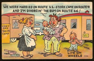 Comic Postcard Curteich 1950s Life Wheels RT 66 Travel Trailer Camp