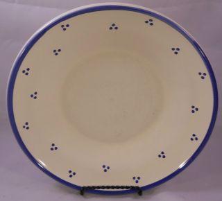 Williams Sonoma Cream w/ Blue Rim & Blue Dots Soup Bowl or Salad Plate
