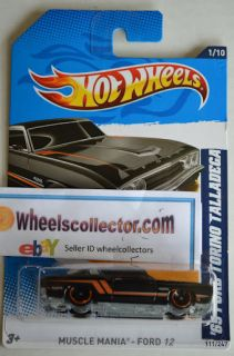 69 Ford Torino Talladega BLACK 2012 Hot Wheels RARE L Case Muscle Ford