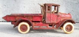 Iron Red Arcade Mfg Co Toy Truck Flat Bed with Rubber Wheels