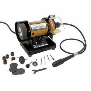 Hobby Bench Grinder w Rotory Tool and Grinding Stones Wheels