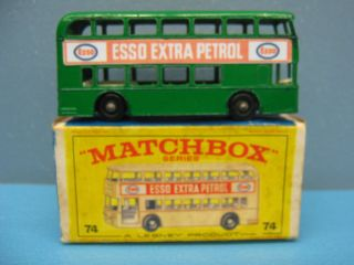 Lesney Matchbox 74 Esso Extra Petrol Daimler Bus Excellent We Box