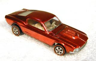1969 Redline Custom Mustang Hot Wheels Car Red Near Mint Example