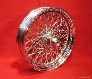 16 Chrome 80 Spoke Front Rear Wheel Fits Harley Shovelhead 73 84
