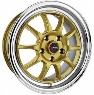 17 4x100 Drag 4 Lug DR16 Gold Wheels Rim Cap Chrome Lip