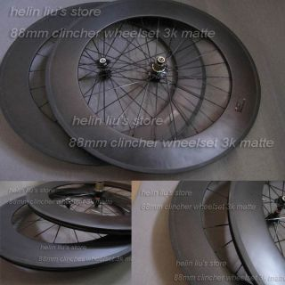 clincher carbon wheelset with 3K Matte finish carbon fiber bike wheels
