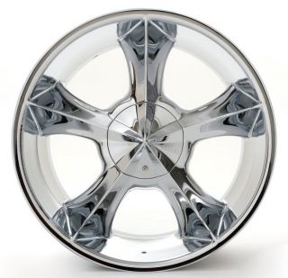 22 Player 817 Chrome Wheels Rims Tires Package 5x127 5x135