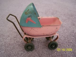 Vintage 1930s Toy Baby Stroller Metal with Wood Wheels