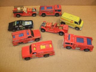 VINTAGE LOT 8 HOT WHEELS 1974,76,77 & 80  NO 5 FIRE TRUCK PARAMED FIRE