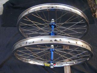 Araya Super 7x Wheels Suzue Blue Hubs BMX Rims Chrome Freestyle