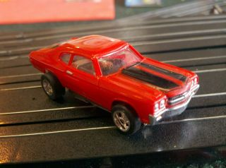 CHEVELLE Orange w Blk T jet Ho Scale Slot Car Chassis Cool Wheels