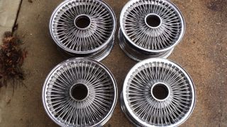 15 Chrome Wire Wheels Rims Set 15x7 Standard Rat Rod Chevy Ford Dodge