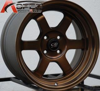 16x8 Rota Grid V Wheels 4x100 Rim 20mm Offset Sport Bronze