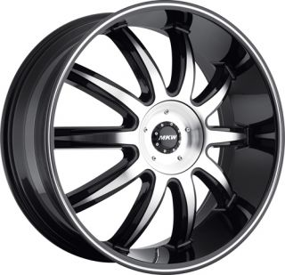 24 inch Wheels Tires MKW M112 Black Escalade 2007 2008 2009 2010 2011