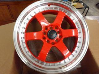 17 Red Orange FM510 Rims 5x114 3 5x100 Wheels Honda Toyota Nissan