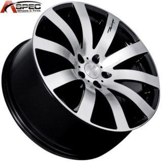 MRR HR4 20x8 5x112 35 Black Machined Face Rim Wheels