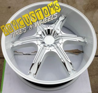 24 inch White Wheels Rims Tires 5x115 Charger Magnum Challenger