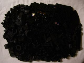 600 Lego Black Bricks Base Plates Wheels Parts Bulk Brick Lot