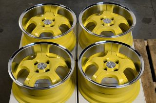Yellow Low Offset 25 4 Lug Wheels Del Sol Integra Honda Civic CRX Rims