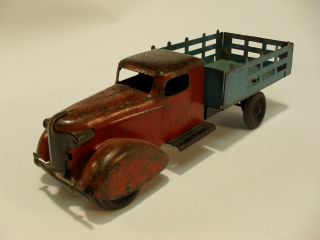 Metal Stake Flat Bed Truck w Wood Wheels 1930s Super Condition