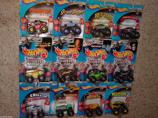 Hot Wheels OLD 2000 2001 MONSTER JAMS 4x4 TRUCK COLLECTION LOT of 12