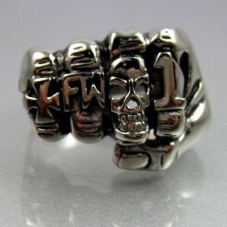 Steel Cross Skull Hand Forever Two Wheels 1 ER Mens Ring