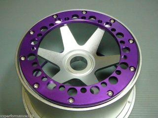 2X Rear 6 Spoke CNC Alloy Wheel Rims HPI Baja 5B Tires