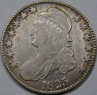 1825 Capped Bust Half Dollar Extra Fine Rim Tone RARE