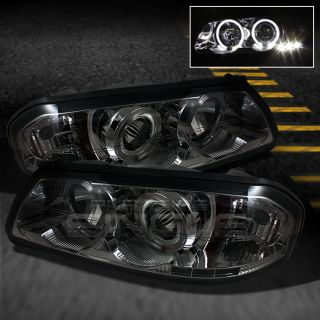 Smoked 00 05 Chevy Impala Dual Halo Projector LED Head Lights Lamps