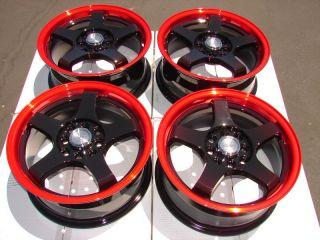 4x114 3 Red Effect Wheels Lancer Accord Jetta Scion XA XB Golf CL Rims