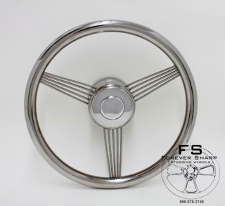 14 Stainless Steel Banjo Style Wheel w Horn Button Installation Kit