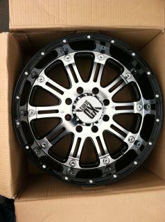 20 Black Machine Wheels Tires 8x165 Hummer Chevy Dodge New 275 60 20