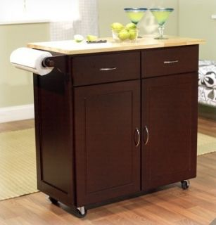 Large Espresso Kitchen Island Cart on Wheels Rolling Storage Cabinets