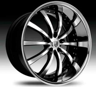 10 Wheel Set Black Machined Chrome Lip 18x7 5 Lexani LSS10 Rims