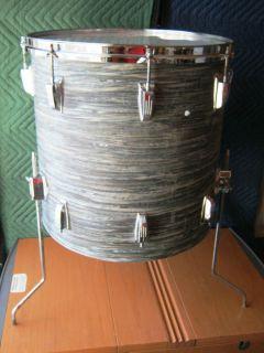 70s 16 Ludwig Black Oyster Floor Tom 1 Head Rim 8 Tension Rods 16 Lugs
