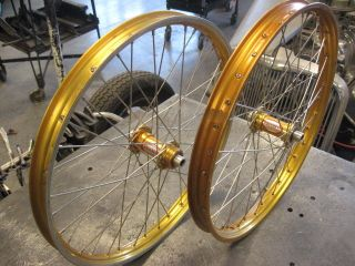 Vintage BMX Gold Araya 7 B Rims and Bullseye Hubs