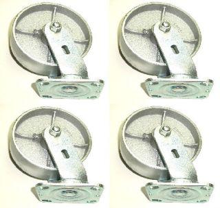 Swivel Caster 6 x 2 Heavy Duty Solid Wheels 1200 Capacity