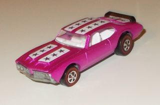 1971 Hot Wheels Redline, Olds 442, US Hot Pink/White Int. Reproduction