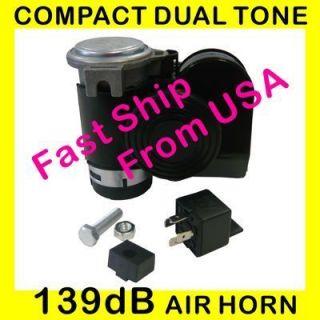 Compact Dual Tone Air Horn Loud 139nu llf orC arTru ck