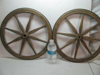 Antique Primitive Wood Wooden Wagon Tea Cart Spoke Wheels Salvage
