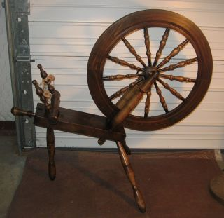 Vintage Country Craftsman Wooden Spinning Wheel by J Rooney Littleton