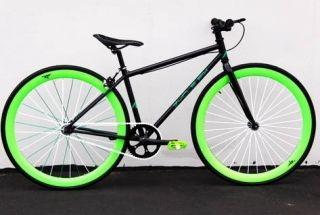 Gear Bike Fixie Bike Road Bicycle 52cm w Deep 45mm Rims Green Monster